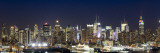 Buildings in a City Lit Up at Dusk, Hudson River, Midtown Manhattan, Manhattan, New York City, New  Photographic Print by  Panoramic Images