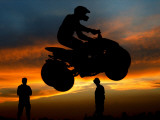 Competitor Jumps with His Quad Bike During a Greek National Race at Hellinikon Old Airport, Athens Photographic Print
