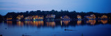 Boathouse Row Lit Up at Dusk, Philadelphia, Pennsylvania, USA Stampa fotografica