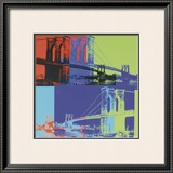 Brooklyn Bridge, c.1983 (Orange, Blue, Lime) Posters by Andy Warhol