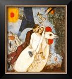 Les Fiancees de la Tour Eiffel Posters by Marc Chagall