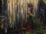 Wheel Besides Barn, Drury Place, Weston, Vermont, USA Photographic Print by Scott T. Smith
