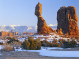 La Sal Mountains, Balanced Rock at Sunset, Arches National Park, Utah, USA Photographic Print by Scott T. Smith