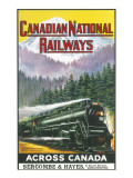 Canadian National Railways Poster Showing a Steam Engine Train in Canada Reproduction procédé giclée