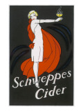 Cider an Elegant Lady Holding Out a Glass of Bubbling Cider Giclée-tryk