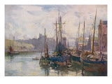Isle of Man: Peel Harbour, with the Castle in the Background Giclée-tryk