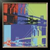 Brooklyn Bridge, c.1983 (Orange, Blue, Lime) Art by Andy Warhol