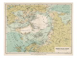 Map of the Arctic Circle and Surrounding Areas Giclee-trykk