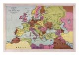 Mapa de Europa Según  Mundo guerra One Lámina giclée