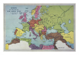 The Map of Europe on the Eve of World War One Reproduction procédé giclée