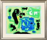 Komposition in Grun, c.1954 Arte por Willi Baumeister