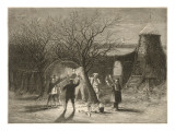 Wassailing Apple Trees with Hot Cider in Devonshire on Twelfth Night Giclée-tryk