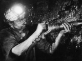 Miner Using an Hydraulic Drill at the Coal-Face, at Cape Bank Hall Pit, Burnley, in Lancashire Photographic Print by Henry Grant