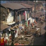 Aerial View of Slum Housing in Calcutta, India Impressão fotográfica