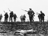 British Troops Advance Through Barbed Wire across No Mans Land Photographic Print by Robert Hunt