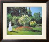 Jeanne Marguerite Lecadre in Her Garden, 1866 Poster by Claude Monet