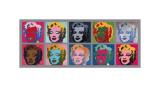 Ti billeder af Marilyn, ca. 1967  Giclée-tryk af Andy Warhol