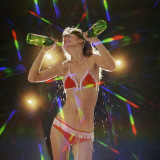 Go Go Dancer Pouring Water on Herself Photographic Print by Dennis Hallinan