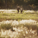 Couple Walking Holding Hands in Tall Grass Field Photographic Print by Dennis Hallinan