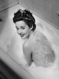 Woman Taking Bubble Bath, (B&W), Elevated View Photographic Print by George Marks