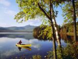 Man Paddles Canoe on Autumn Day Photographic Print by Dennis Hallinan