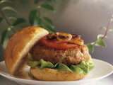 Close-Up of a Hamburger on a Plate Photographic Print by P. Martini