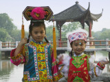 China, Zhejiang Province, Hangzhou, West Lake, Girls Dressed in Qing Dynasty Princess Costume Photographic Print by Keren Su