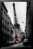 De rode jas, voor Eiffeltoren Poster