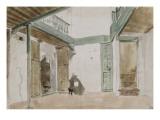 Une cour à Tanger ; 1832 Reproduction procédé giclée par Eugene Delacroix