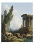 Ruines antiques Reproduction procédé giclée par Hubert Robert