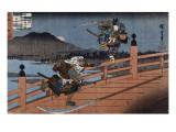 Combat de samouraï Reproduction procédé giclée par Ando Hiroshige