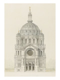 Eglise Saint-Augustin (Paris): Main Facade Elevation Giclee Print by Victor Baltard