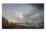 Première vue du port de Bordeaux, prise du côté des salinières Gicléetryck av Claude Joseph Vernet