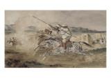 Fantasia arabe devant une portes de Mekinès Reproduction procédé giclée par Eugene Delacroix