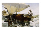 Retour de pêche, halage de la barque Reproduction procédé giclée par Joaquín Sorolla y Bastida