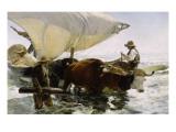 Retour de pêche, halage de la barque Giclée-tryk af Joaquín Sorolla y Bastida