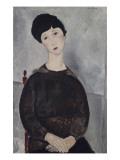 Jeune fille brune, assise Reproduction procédé giclée par Amedeo Modigliani