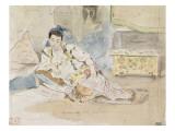 """Femme arabe assise sur des coussins ; Etude pour les """"Femmes d'Alger"""" Reproduction procédé giclée par Eugene Delacroix"""