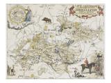 Carte chasseresse et mythologique de Brocéliande, forêt de Paimpont Lámina giclée