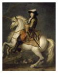 Louis XIV à cheval, roi de France et de Navarre (1638-1715) Giclée-tryk af René Antoine Houasse