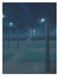 Nocturne au Parc Royal de Bruxelles Reproduction procédé giclée par William Degouve De Nuncques