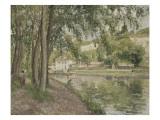 Moret, le canal du Loing (Seine et Marne) ou Chemin de halage à Saint Mammès Reproduction procédé giclée par Camille Pissarro