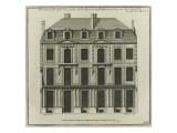 Planche 266 :  élévation côté cour de la maison de Jules Hardouin-Mansart bâtie Reproduction procédé giclée par Jacques-François Blondel
