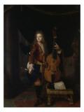 Portrait du musicien Johan Schenk (jouant une partition de Marin Marais) Giclee Print by Constantin Netscher