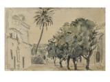 Place San Lorenzo à Séville Reproduction procédé giclée par Eugene Delacroix