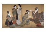 Paravent à huit volets : Neuf femmes jouant au jeu du renard Giclée-tryk af Katsushika Hokusai