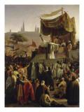 Saint Bernard prêchant la deuxième Croisade en présence du roi Louis VII et de la reine Aliénor Reproduction procédé giclée par Emile Signol