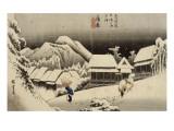 Neige de nuit à Kambara Giclee Print by Ando Hiroshige