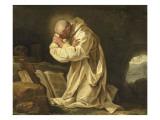 Saint Bruno en prière dans le désert Reproduction procédé giclée par Jean Bernard Restout
