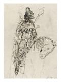 """Etude de cavalier musicien pour le """"Poète arabe"""" Giclée-tryk af Gustave Moreau"""